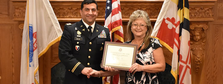 After 43 years of federal service, USAMMDA's Cindy Cutsail was honored at a retirement ceremony, August 30
